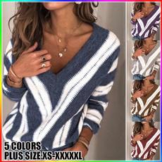 woolen, Deep V-Neck, Plus Size, Winter