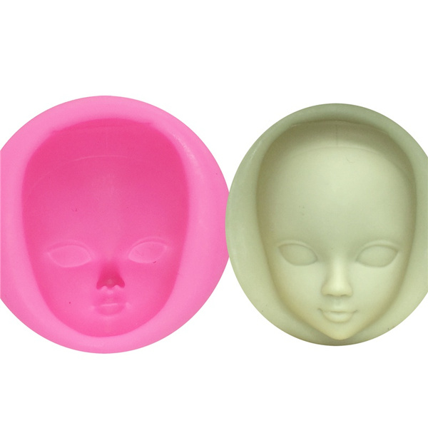 1 Pcs Girl Face Silicone Mold Fondant Molds Cake Decorating Tools Woman Mask Gumpaste Mould Polymer Clay Resin Molds Random Color