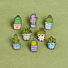 Kawaii, Plantas, pottedplantbrooch, Prendedores