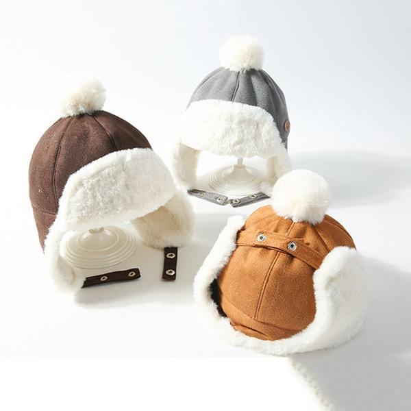 Children Lei Feng Hat Winter Warm Deer Suede Earmuffs Baby Thickening Plush Cap