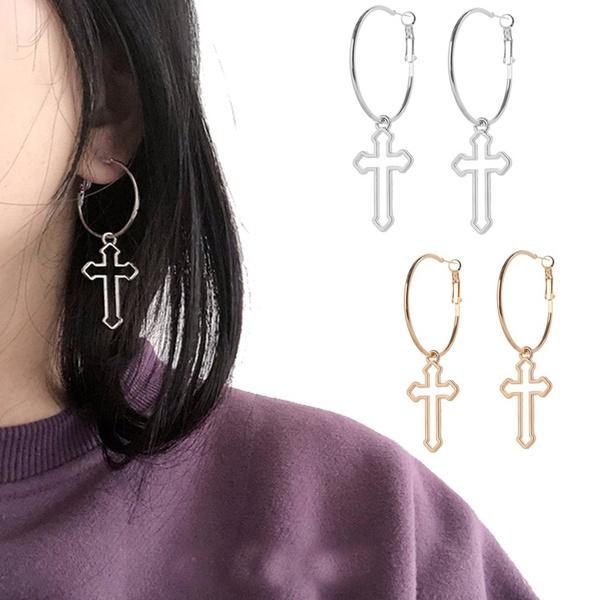 crossearring, Hoop Earring, Jewelry, hollowcro