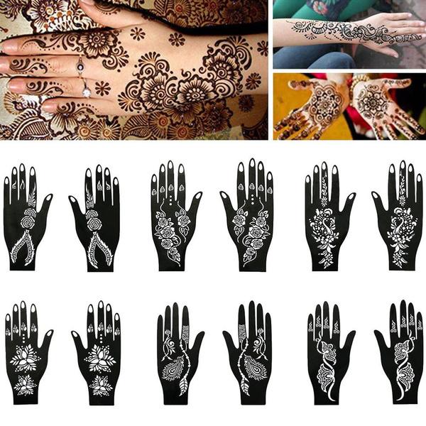 Cool Hand Foot India Flower Temporary Tattoo Tattoo Stencil Body Art Sticker Template Henna Stencil Wish