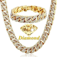 goldplated, Chain Necklace, DIAMOND, Jewelry