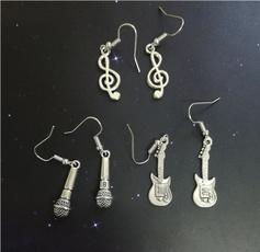 antiquesilverearring, Dangle Earring, guitarjewelry, Gifts