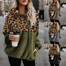 Plus Size, Long Sleeve, sweatshirtandhoddie, Leopard