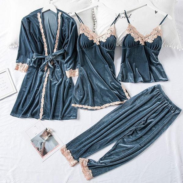 Sleepwear, nightgownsset, velvet, Jewelry