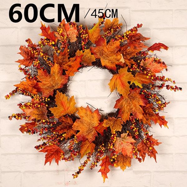 Flowers, Door, mapleleafwreath, Halloween