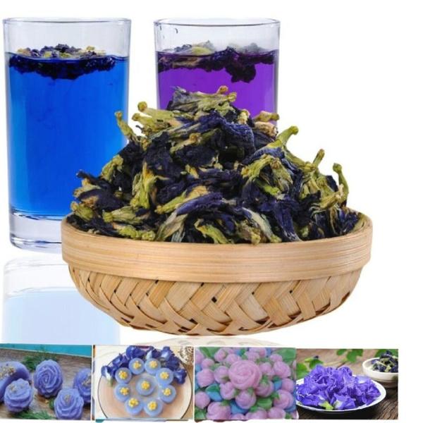 Blues, butterfly, Flowers, Tea