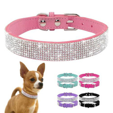 pink, adjustabledogleash, Suede, Dog Collar