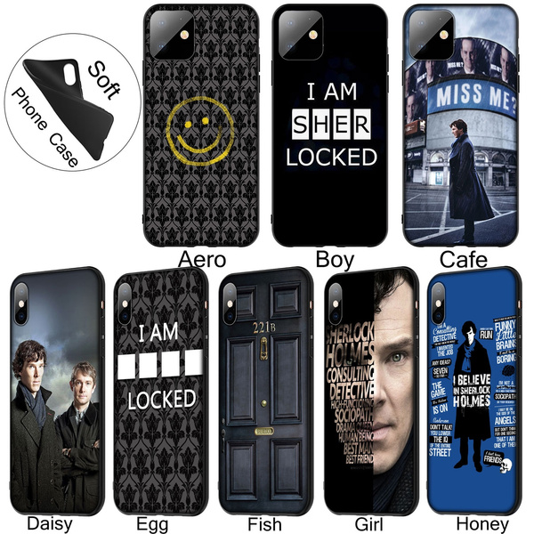 221B Sherlock Holmes Soft Silicone Black TPU Cover Case for iPhone 11 Pro XR X XS Max 10 6 6S 7 8 Plus 5 5S SE Phone Case for Samsung Galaxy Note 10 ...