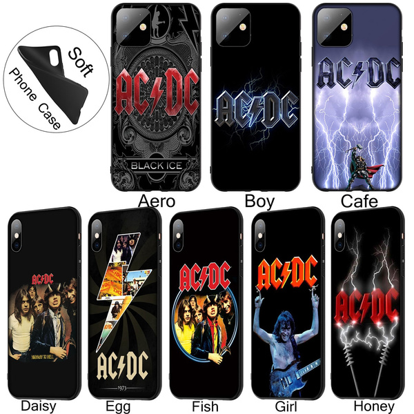 ACDC AC DC Soft Silicone Black TPU Cover Case for iPhone 11 Pro XR X XS Max 10 6 6S 7 8 Plus 5 5S SE Phone Case for Samsung Galaxy Note 10 Plus A10 ...