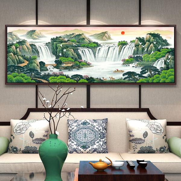 Landscape Painting Feng Shui Relying On, Feng Shui Painting For Living Room