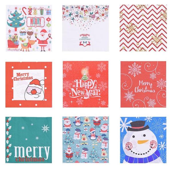 snowman, party, papernapkin, Christmas