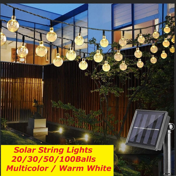 20 30 50 100balls Upoom Solar String Lights Garden Outdoor String Lights Multi Colored Waterproof Crystal Ball Fairy Lights Decoration Lighting For Home Garden Patio Yard Christmas Wish