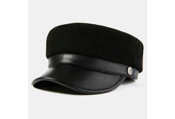 Hommes de peau de mouton cuir militaire casquette marin breton Fiddler sailor Vintage