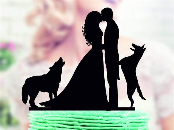 weddingcaketopper, silhouette, silhouettecaketopperwithdog, caketopper