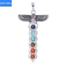 Cross necklace, sevenchakranecklace, ladypendant, pinkcrystal