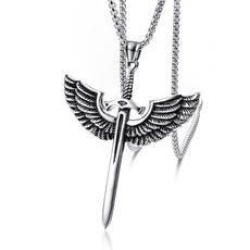 Steel, wingnecklace, mens necklaces, punk necklace