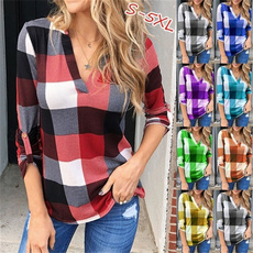 plaid shirt, blouse, Plus Size, Shirt