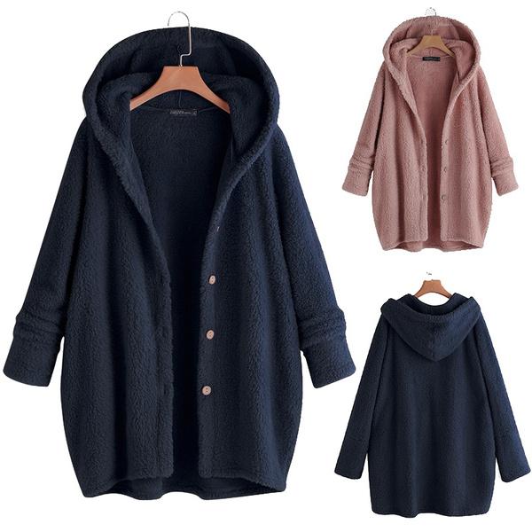 Fleece, hooded, plussizecoat, cardigan