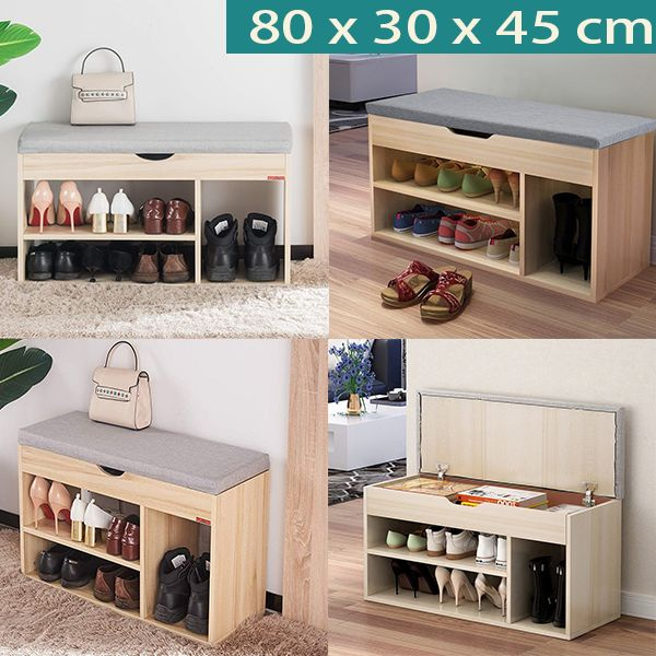 Shoes Bench Boot Organizing Upholstered Shoe Rack Entryway Storage 2 Tier 1 Hidden Compartment 80 X 30 X 45 Cm Wish