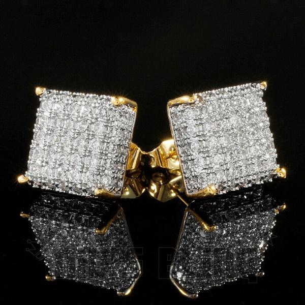 Sterling, Stud, DIAMOND, Men Earrings