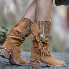 ankle boots, Tassels, Fringe, leather