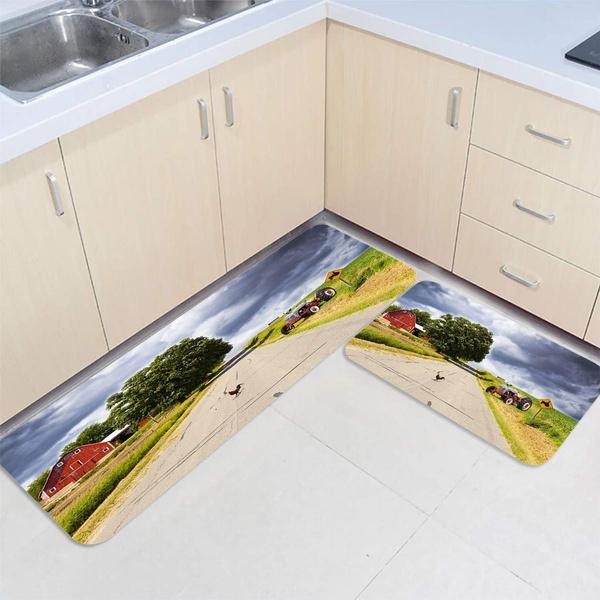 2pcs Kitchen Floor Mat Carpet Farm Tractor Warehouse Rooster Set Non Slip Runner Rugs Doormat Indoor Outdoor Mats 15 7 X 23 6 47 2 Wish