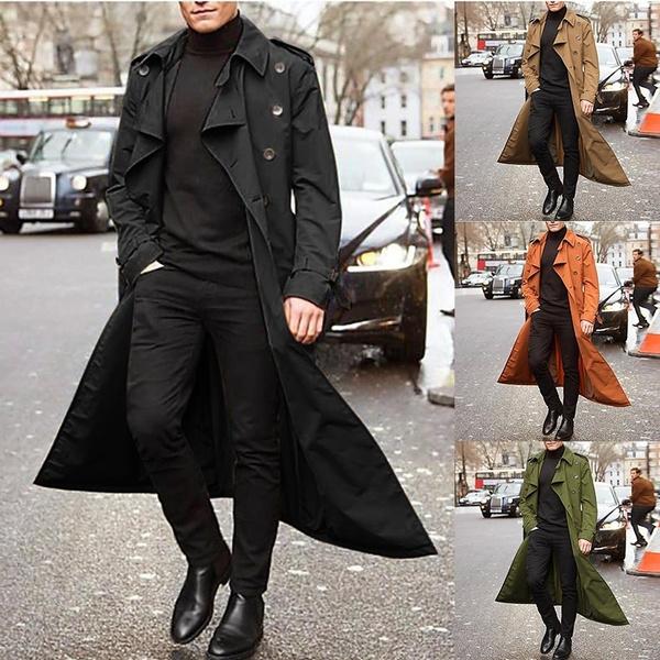 New Fashion Men S Trench Coat, Fashionable Long Trench Coats