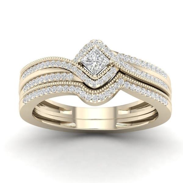 18 k, Engagement Wedding Ring Set, wedding ring, gold
