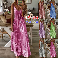 Plus Size, Floral print, long dress, Spaghetti