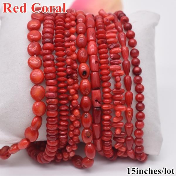 redcoral, Jewelry, coralbead, Handmade