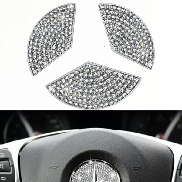 45mm Bling Steering Wheel Logo Caps for Mercedes Benz,DIY Diamond Crystal Steering Wheel Emblem Accessories Badge Interior Decorations Compatible for Women W205 W212 W213 C117 C E S CLA GLA GLK Class