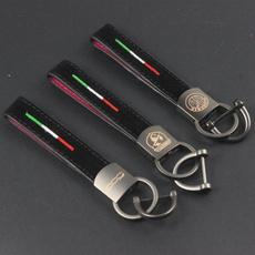 fiat500alfaromeocarkey, Chain, italyflagcarkeychain, leather