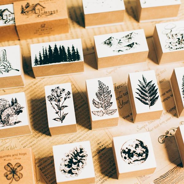 Plants, scrapbookingstamp, Wooden, Vintage