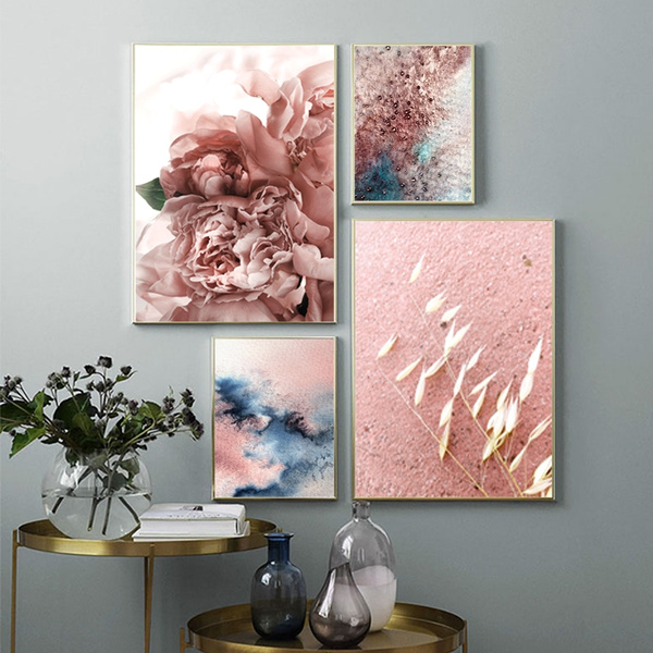Light Pink Wall Art Abstract Watercolor Canvas Painting Flower Poster And Print Modern Boho Decor Minimalist Pictures Home Decor Wish