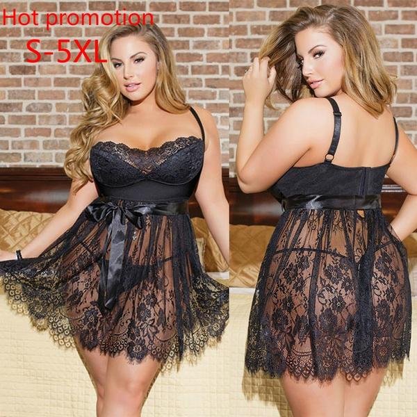 Plus Size, Lace, Dress, Ladies