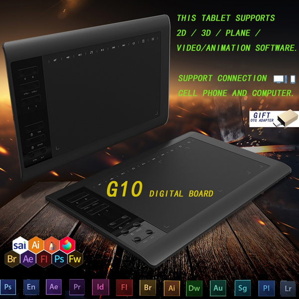 G10 Graphics Tablet Digital Drawing Tablet Hand Painted Board Computer Painting Drawing Board Writing Board Writing Input Board Support Win Mac Smartphone Connecting Wish