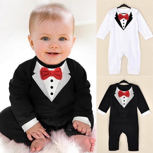 bowknot, V Collar, longsleevejumpsuit, babyromper