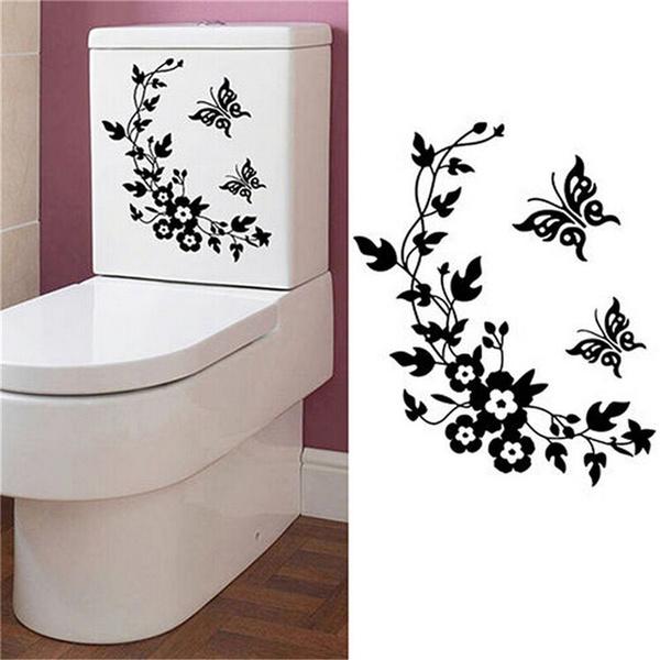 butterfly, Bathroom, Flowers, toiletseatsticker