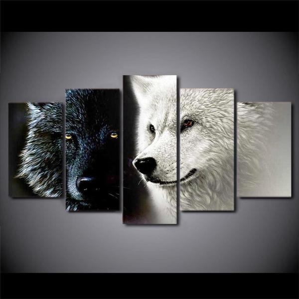 Wall Art, Colorful, blackwhitepainting, Modern