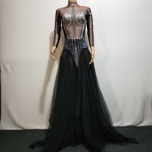 gowns, rhinestonesdres, banquetpartydres, performance