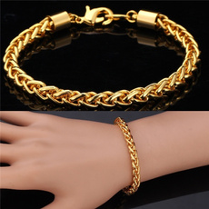 goldplated, cordaodeouro, Titanium Steel Bracelet, mensfashionbracelet
