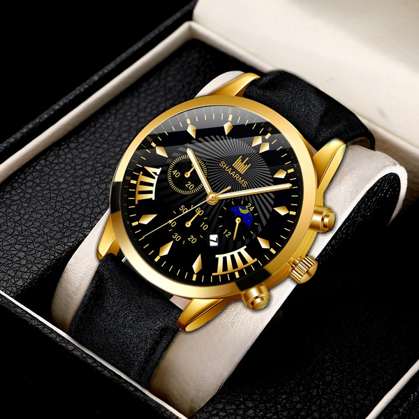 Fashion, business watch, leather strap, gold