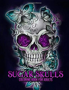 dayofthedeadcoloringbook, sugarskullscoloringbook, skull, coloringbookforgrownup