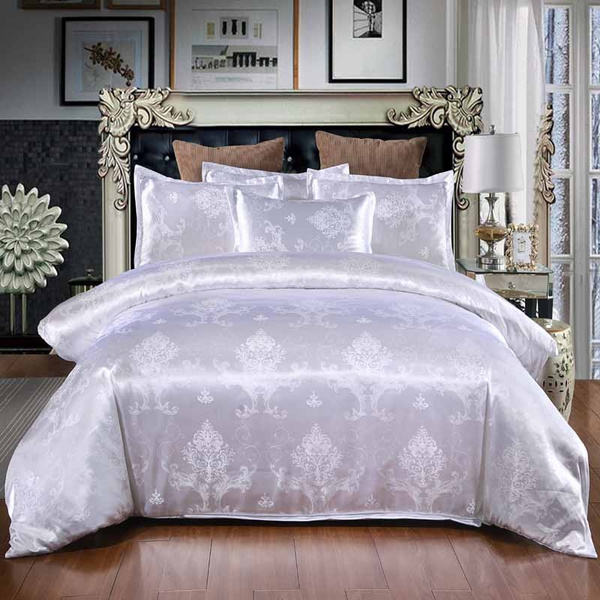 Queen Size Satin Jacquard Duvet Cover, White Bedding With Embroidered Flowers