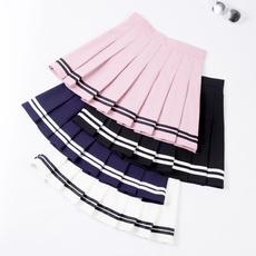 shortpleatedskirt, School, skirts female, high waist