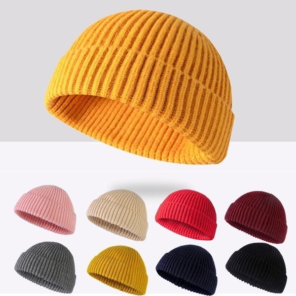 Unisex Retro Mens Knitted Trawler Beanie Hat Wool Ribbed Cuffed Fisherman Beanie Hats Caps Wish