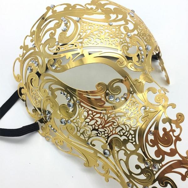 Metal Venetian Mask Masquerade Half Face Party Filigree Rhinestone Diamante