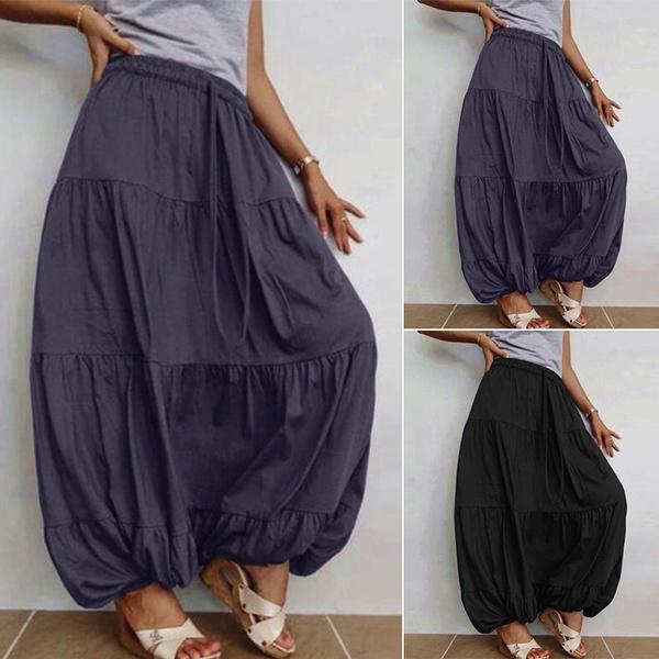 Cotton, elastic waist, ruffle, looseskirt